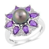 Tahitian Pearl, Amethyst, White Zircon Sterling Silver Daisy Flower Ring (Size 8.0) TGW 1.73 cts.