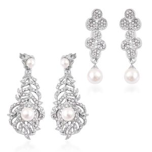 Set of 2 Simulated Pearl, White Austrian Crystal Silvertone Earrings