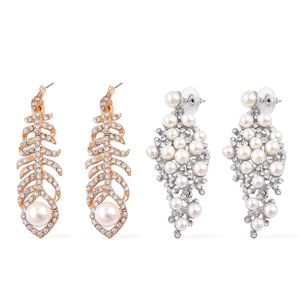 Set of 2 Simulated Pearl, White Austrian Crystal Dualtone Earrings