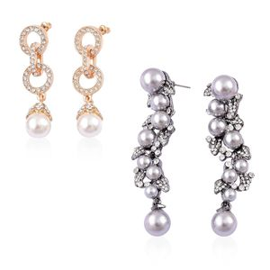 Simulated Pearl, White Austrian Crystal Dualtone Set of 2 Earrings