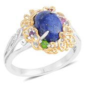 Lapis Lazuli, Multi Gemstone 14K YG Over and Sterling Silver Ring (Size 8.0) TGW 2.27 cts.