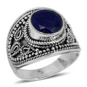 Bali Legacy Collection Lapis Lazuli Sterling Silver Cuff Ring (Size 5.0) TGW 4.65 cts.