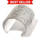 White Austrian Crystal Silvertone Elongated Cuff (7 in)