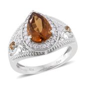 Dan's Collector Deal Santa Ana Madeira Citrine, Brazilian Citrine, Cambodian Zircon Platinum Over Sterling Silver Ring (Size 10.0) TGW 3.99 cts.