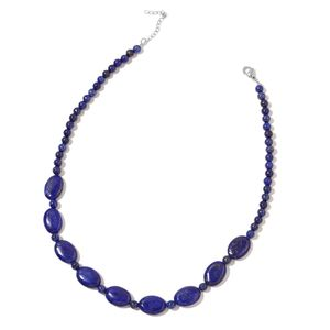 Lapis Lazuli Beads Stainless Steel Necklace (18-20 in) TGW 193.50 cts.