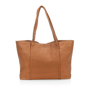 Tan Genuine Leather RFID Tote Bag (15x4.5x11.5 in)