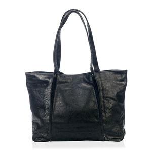 Black Genuine Leather RFID Tote Bag (15x4.5x11.5 in)