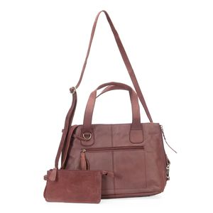 Purple Genuine Leather RFID Shoulder Bag (16x5x9 in) with Removeable Matching Clutch (7.5x4 in)