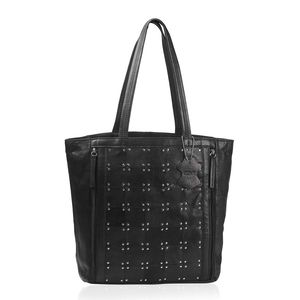 Lifestyle Must Have Black Genuine Leather RFID Studded Zipper Shoulder Bag with Clutch (11.5x5x13 in)