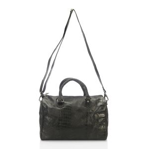 One Day TLV Black Genuine Leather Croco Embossed RFID Spacious Duffle Bag with Removable Strap (14x6x11 in)