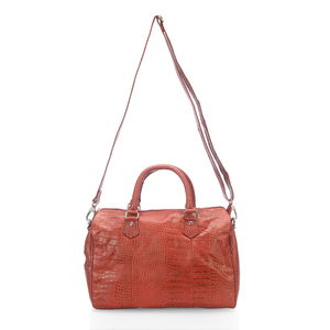 One Day TLV Red Croco Embossed Genuine Leather RFID Duffle Bag