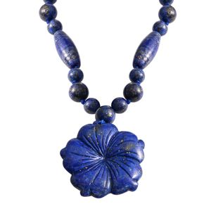Lapis Lazuli Beads Silvertone Necklace (18 in) TGW 199.00 cts.