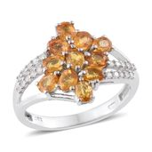 Yellow Sapphire, Cambodian Zircon Platinum Over Sterling Silver Ring (Size 6.0) TGW 2.90 cts.