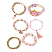 STRADA Austrian Crystal, Glass, Chroma Japanese Movement Watch in Goldtone with Pink Band and Stainless Steel Back and Set of 5 Bracelets (Stretchable)