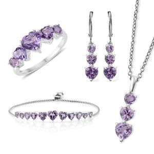 Rose De France Amethyst Sterling Silver Bolo Bracelet (Adjustable), Lever Back Earrings, Ring (Size 8) and Pendant With Stainless Steel Chain (20.00 In) TGW 11.40 cts.