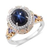 Thai Blue Star Sapphire, Multi Gemstone 14K YG and Platinum Over Sterling Silver Ring (Size 10.0) TGW 7.95 cts.