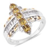 Marialite, White Topaz 14K YG and Platinum Over Sterling Silver Ring (Size 8.0) TGW 1.82 cts.