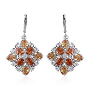 Orange and Yellow Sapphire, White Topaz Platinum Over Sterling Silver Lever Back Earrings TGW 8.04 cts.
