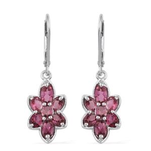 Morro Redondo Pink Tourmaline Platinum Over Sterling Silver Lever Back Earrings TGW 2.44 cts.