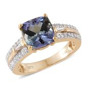 14K YG Peacock Tanzanite (2A), Diamond Ring (Size 7.0) TDiaWt 0.30 cts, TGW 3.95 cts.