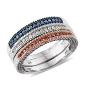 Set of 3 Red and Blue Diamond (IR), Diamond 14K RG and Platinum Over Sterling Silver Engraved Band Rings (Size 7) TDiaWt 0.50 cts, TGW 0.50 cts.