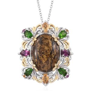 Australian Goldflake Feldspar, Multi Gemstone 14K YG and Platinum Over Sterling Silver Pendant With Chain (20 in) TGW 14.13 cts.