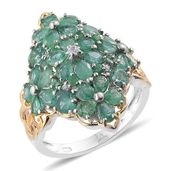 Kagem Zambian Emerald, Cambodian Zircon 14K YG and Platinum Over Sterling Silver Ring (Size 7.0) TGW 4.22 cts.