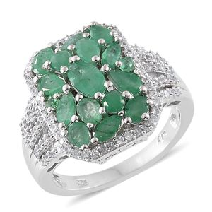 Kagem Zambian Emerald, Cambodian Zircon Platinum Over Sterling Silver Cluster Ring (Size 7.0) TGW 3.65 cts.