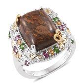 Australian Goldflake Feldspar, Multi Gemstone 14K YG and Platinum Over Sterling Silver Ring (Size 7.0) TGW 11.42 cts.