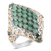 Kagem Zambian Emerald 14K YG and Platinum Over Sterling Silver Elongated Cocktail Ring (Size 7.0) TGW 3.63 cts.