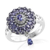 Premium AAA Tanzanite, Cambodian Zircon Platinum Over Sterling Silver Pierced Drop Charm Ring (Size 6.0) TGW 2.35 cts.