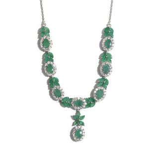 Kagem Zambian Emerald, Cambodian Zircon Platinum Over Sterling Silver Necklace (18 in) TGW 15.70 cts.
