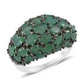 Kagem Zambian Emerald, Cambodian Zircon Platinum Over Sterling Silver Ring (Size 8.0) TGW 8.09 cts.