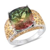 Rainbow Genesis Quartz 14K YG and Platinum Over Sterling Silver Ring (Size 7.0) TGW 11.70 cts.