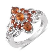 Orange Sapphire, Cambodian Zircon Platinum Over Sterling Silver Ring (Size 6.0) TGW 1.78 cts.