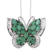 Kagem Zambian Emerald, White Topaz Platinum Over Sterling Silver Butterfly Pendant With Chain (20 in) TGW 4.76 cts.