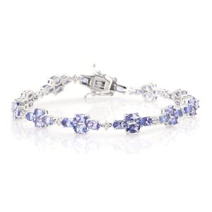 Tanzanite, White Topaz Platinum Over Sterling Silver Bracelet (7.50 In) TGW 10.50 cts.