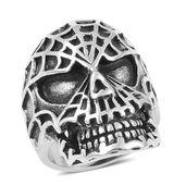 Black Oxidized Stainless Steel Spider Skull Men's Ring (Size 12.0)