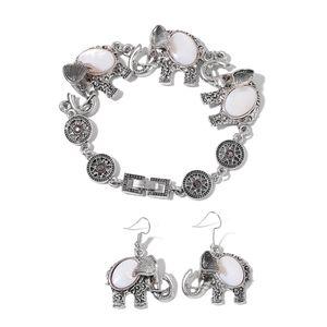 White Shell, Black Austrian Crystal Black Oxidized Silvertone & Stainless Steel Bracelet (8.00 In) and Earrings