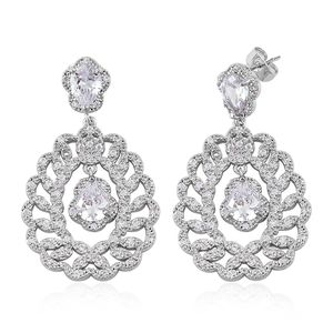 Simulated White Diamond Silvertone Dangle Earrings TGW 15.00 cts.