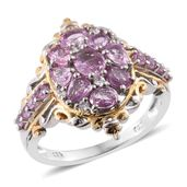 Madagascar Pink Sapphire, Cambodian Zircon 14K YG and Platinum Over Sterling Silver Ring (Size 6.0) TGW 2.28 cts.