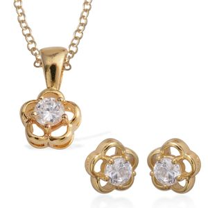 Simulated Diamond 14K YG Over Sterling Silver Flower Stud Earrings and Pendant With Chain (18 in) TGW 1.08 cts.