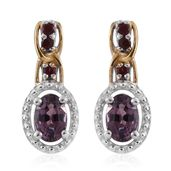 Burmese Lavender Spinel, Anthill Garnet 14K YG and Platinum Over Sterling Silver Drop Earrings TGW 1.47 cts.