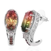 Rainbow Genesis Quartz, White Topaz, Mozambique Garnet Platinum Over Sterling Silver J-Hoop Earrings TGW 14.39 cts.