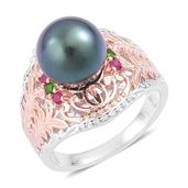 Tahitian Pearl (11-11.5 mm), Burmese Ruby, Russian Diopside 14K RG Over and Sterling Silver Openwork Ring (Size 7.0) TGW 0.20 cts.