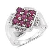 Purple Garnet, Cambodian Zircon Platinum Over Sterling Silver Men's Ring (Size 12.0) TGW 3.49 cts.