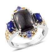 Shungite, Lapis Lazuli, Tanzanite 14K YG and Platinum Over Sterling Silver Ring (Size 7.0) TGW 6.90 cts.