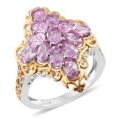 Madagascar Pink Sapphire 14K YG and Platinum Over Sterling Silver Ring (Size 8.0) TGW 3.95 cts.