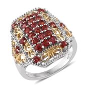 Red Sapphire 14K YG and Platinum Over Sterling Silver Ring (Size 6.0) TGW 2.44 cts.