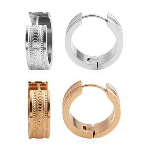 Set of 2 ION Plated YG and Stainless Steel Huggie Earrings